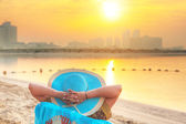 Sun holidays on the beach of Persian Gulf — Stock Photo