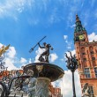 Famous Neptune fountain, the symbol of Gdansk — Stock Photo