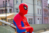 Man in spiderman outfit in main square of Sopot — Stock Photo