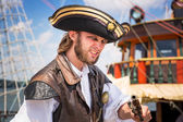Man posing in pirate outfit on Sopot molo — Stock Photo