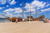 Pirate galleon at Sopot molo on Baltic Sea, Poland — Stock Photo