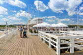 People on Sopot molo at Baltic Sea, Poland — Stock Photo