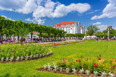 Square with beautiful gardens at the Sopot Molo, Poland — Stock Photo