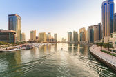 City scenery of Dubai Marina at sunset — Stock Photo