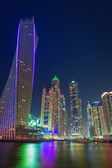 Skyscrapers of Dubai Marina at night — Stockfoto