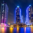 Постер, плакат: Skyscrapers of Dubai Marina at night UAE