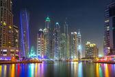 Skyscrapers of Dubai Marina at night, UAE — Stock fotografie