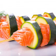 Salmon and courgette shashlik — Stock Photo #49304991