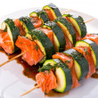Salmon and courgette shashlik — Stock Photo #49305231