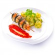 Salmon and courgette shashlik — Stock Photo #49305367