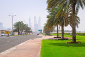 Streets of Dubai at the Jumeirah Beach, UAE. — Stock Photo