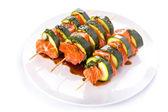 Salmon and courgette shashlik — Stock Photo
