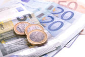 Euro coins and banknotes — Stock Photo