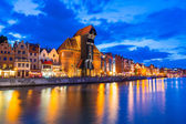Gdansk at night in Poland — Stock Photo