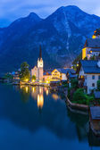 Hallstatt village in Alps at dusk — Stock Photo