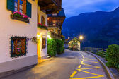 Hallstatt village in Alps at night — Stock Photo