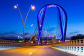 Cable stayed bridge in Bydgoszcz at night — Stock Photo