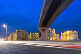 Road to the Palm Jumeirah island in Dubai — Stock Photo