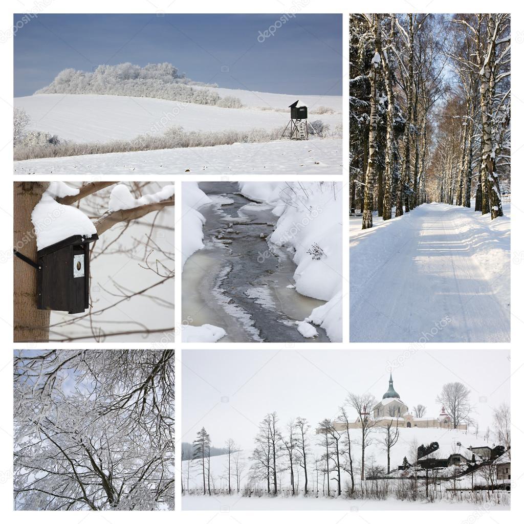 冬季拼贴画 — 图库照片