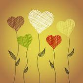 цветы абстрактного сердца — Cтоковый вектор