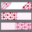 Royalty-Free Stock Vector Image: Collection of three banners with hearts. Valentine\'s Day card template in vector.