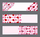 Collection of three banners with hearts. Valentine's Day card template in vector. — Stock Vector