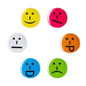 Colorful smileys, Smiley faces on a white background — Stock Photo