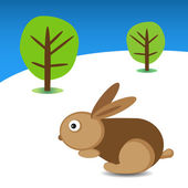 Easter rabbit and trees in the background — Vector de stock