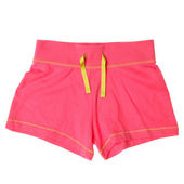 Pink womens shorts isolated on white background — Stock Photo