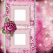 Album page - romantic background with frames, rose, lace, pearl, — Photo #11636736