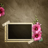Stamp frame and mawell over old textured background — Stock Photo