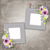 Vintage elegant frames with rose — Stock Photo