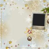 Alte weihnachts-grußkarte — Stockfoto
