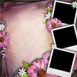 Vintage background with three retro blank photos and flowers — Stock Photo