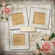 Grunge background with  frames and roses — Stock Photo