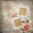 Grunge background with  frames and roses - 图库照片
