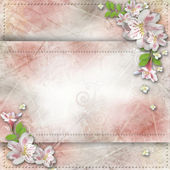 Vintage background with frame and flowers for congratulations an — Stock Photo