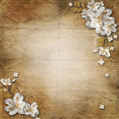 Vintage background with flowers for congratulations an — Stock Photo