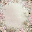 Old decorative background with flowers and pearls - Stock Photo