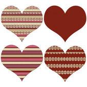 Block av fyra röda valentine hjärtan — Stockfoto