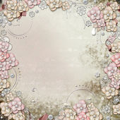 Old decorative background with flowers and pearls — Stock fotografie