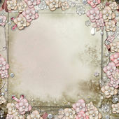 Old decorative background with flowers and pearls — Foto de Stock