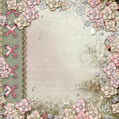 Old decorative cover with flowers and pearls — Stock Photo