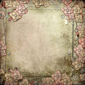 Old decorative background with flowers and pearls — Stock Photo