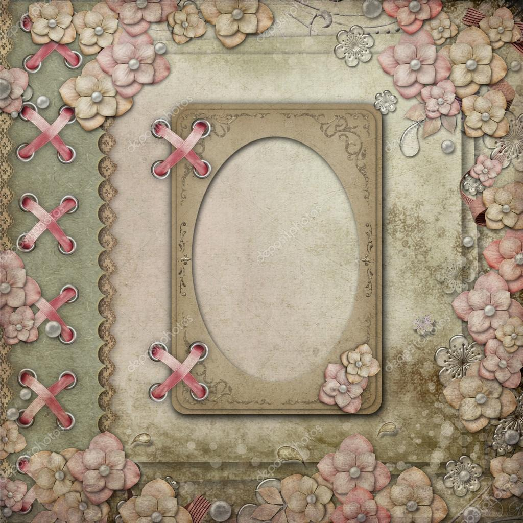 Old decorative background with frame,  lace, ribbon,  flowers and pearls  — Stock Photo #18491951
