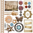 A set of vintage scrap elements -  frames, buttons, flowers isol - ストック写真