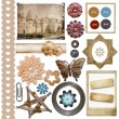 A set of vintage scrap elements - frames, buttons, flowers isol — Stock Photo