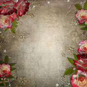 Grunge abstract background with roses — Stock Photo