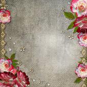 与玫瑰 grunge 抽象背景 — 图库照片