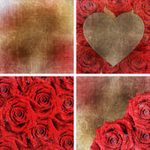 Collection of 4 paper backgrounds with red roses for Valentines — Stock Photo